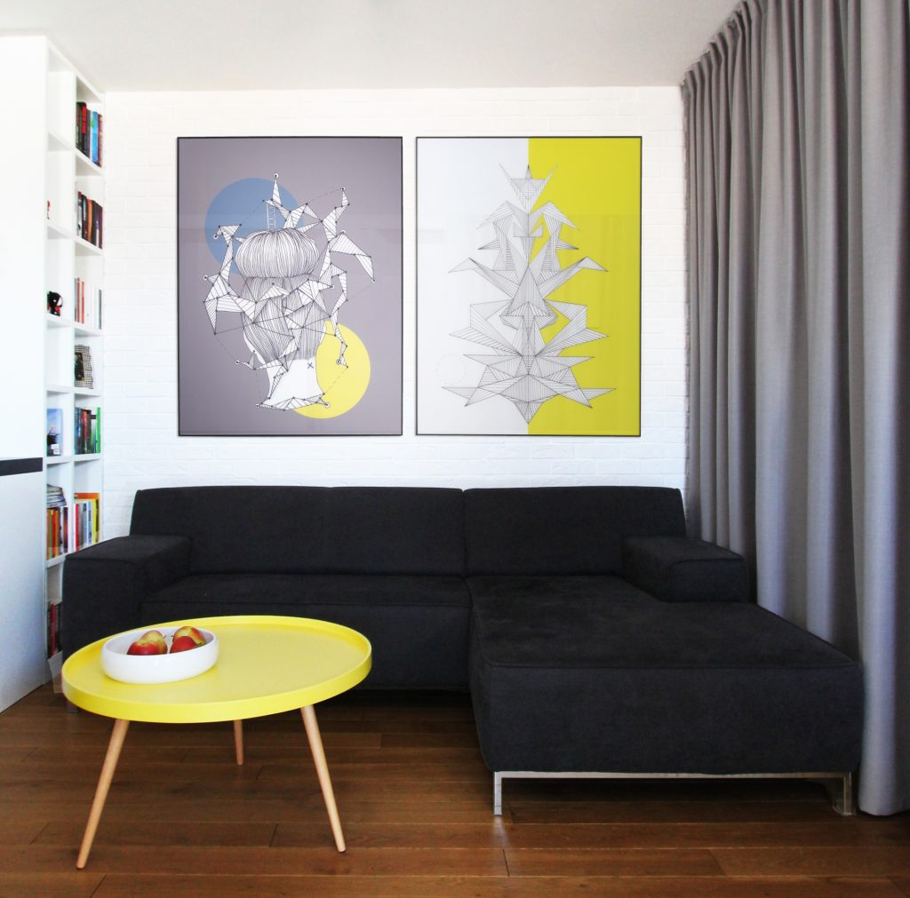 salon grafika na ścianie
