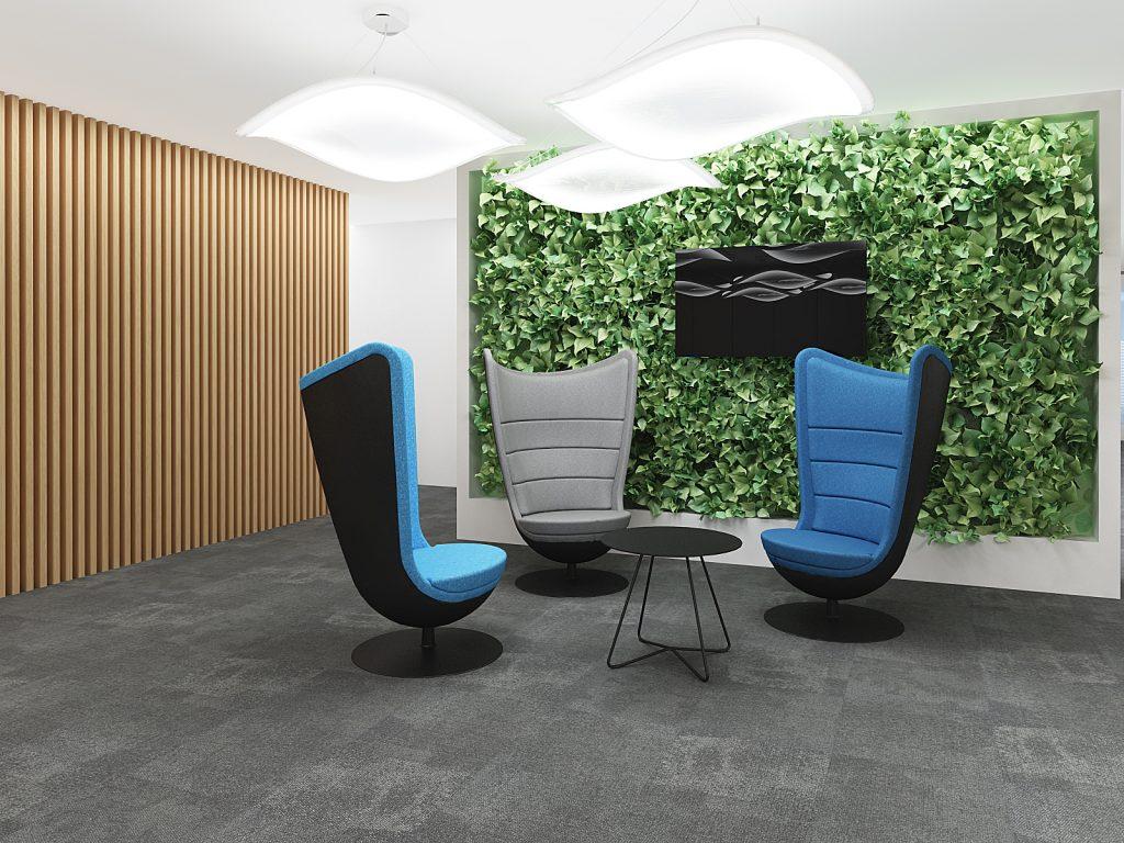 zielona ściana w biurze bekier studio